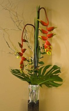 "Hanging Heliconia for ""jungle"" party Tropical Flower Arrangements, Artificial Flower Arrangements, Tropical Flowers, Fresh Flowers, Artificial Flowers, Flora Design, Design Floral, Arte Floral, Arreglos Ikebana"