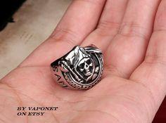 Mens Biker Ring Mens Anarchy Ring Sons Ring Grim by Vaponet