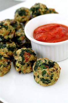 Savoury spinach bites.  Use brown rice or maybe even tri-colour quinoa instead of the herb stuffing mix.  Better carbs maybe.