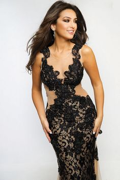 8e5a7c78b1e Jovani Style 24832 Long fitted lace gown with open back and side detail.  Prom Dresses JovaniPageant DressesBlack Evening ...
