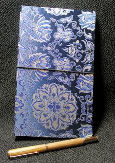 Rich Blue & Silver Brocade Fabric Journal Cover by AORJournals