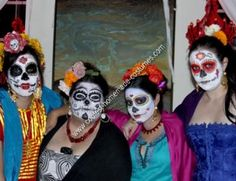 Homemade DIY Mexican Sugar Skull Dia de los Muertos Inspired Group Halloween Costume: I love having an excuse to be colorful and authentic, so for this Halloween I dressed as a Mexican Sugar Skull (Frida Kahlo inspired). This is a great