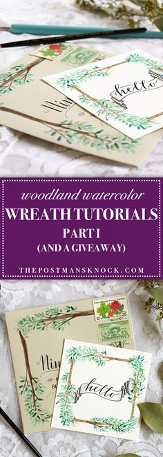 Cute - could use for placecards. - A woodland watercolor wreath can add so much beauty and elegance to any project! Learn how to paint an artistic Branches wreath in this simple tutorial.