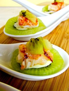 Kiwi Boat topped with Lobster and Scallion Mayonnaise Amuse Bouche - Home - Sweetbites Blog