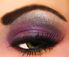 glitter makeup | contacts, glitter, green, makeup, purple