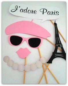 Props, Photobooth, Placas divertidas para fotografar. Paris, beijo, boca, colar, boina, óculos, lenço, torre eiffel.