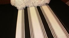 As seen in top bridal magazines This listing is for one table runner made from beautiful black on off-white striped cotton fabric Ends are squared Stripe placement may vary is