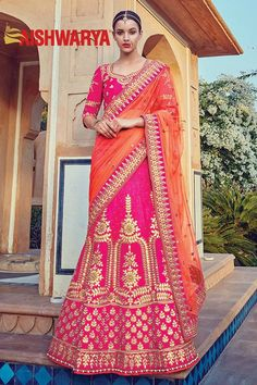 The saree with touches of opulence and femininity is all you need to shine on your special day! Buy Lehenga choli online - http://www.aishwaryadesignstudio.com/festive-pink-designer-lehenga-style-saree