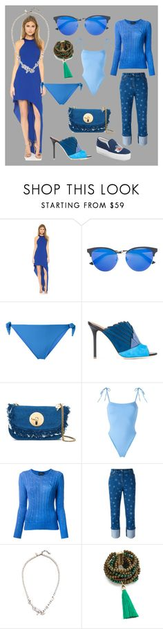 """""""blue fashion"""" by monica022 ❤ liked on Polyvore featuring Halston Heritage, Gucci, MC2, Malone Souliers, See by Chloé, Sian Swimwear, Polo Ralph Lauren, Valentino, Iosselliani and Rosantica"""
