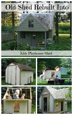 Old shed transformed into kid play house with loft for sleeping and storage for garden tools.