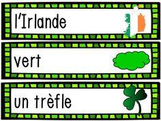 La Saint-Patrick - 28 mots de vocabulaire GRATUIT! French Saint Patrick, Vocabulary Words, Reading, San Patrick