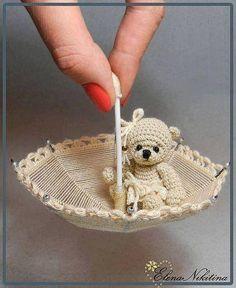 Amigurumi tiny crochet teddy bear by Elena Nikitina. Bunny Crochet, Crochet Amigurumi, Crochet Teddy, Cute Crochet, Amigurumi Doll, Crochet Animals, Crochet Crafts, Crochet Dolls, Crochet Projects