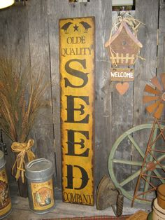 "Primitive wood Extra Lg sign 30"" hand painted "" Olde Quality SEEDS Company "" country folkart wall Housewares Decor"