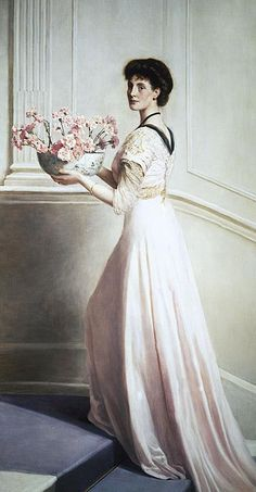 Lady with a bowl of pink carnations  John Maler Collier