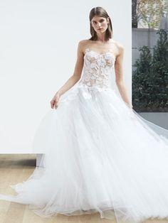 Illusion Neckline Tulle Wedding Dress with Floral Overlay and Corset Bodice   Oscar de la Renta Spring 2018