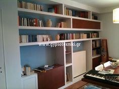 Βιβλιοθήκη με ξύλο και γυψοσανίδα  σε οικία στην Αγία Παρασκευή. Bookshelves, Bookcase, Corner, Design, Home Decor, Bookcases, Decoration Home, Room Decor