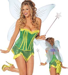 Four Piece Tinkabella Costume - Sparkle Knit Strapless Corset, Sequin Knit Skirt, Wand and Wings.