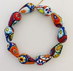 10 venetian millefiori beads made by Ercole Moretti - 14 mm - vintage murano glass from an old stock Beads Pictures, African Trade Beads, Murano Glass Beads, Clay Beads, How To Make Beads, Etsy Vintage, Jewelery, Handmade Items, Jewelry Making