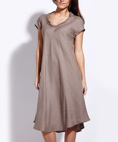 This Taupe Linen Rolled Collar Shift Dress is perfect! #zulilyfinds