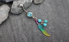 Leaf Belly Button Jewelry Feather Navel Ring Boho by MyBodiArt