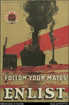 Poster: Follow your mates. Enlist. 1917.