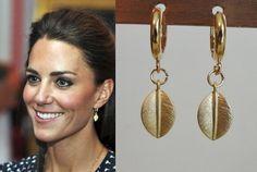 Kate Middleton Leaf Hoop Earrings katemear418/419 by tudorshoppe, $16.00