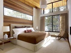 Fensterfront Kleines Schlafzimmer Braun Beige Creme Teppich