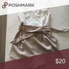 Tied Down Playsuit in Beige and White Never been worn, adorable day outfit. Zippered side, tie waist. Amazing condition. Australian size 8 I would say would be an XS/S USA sizes. showpo Pants Jumpsuits & Rompers