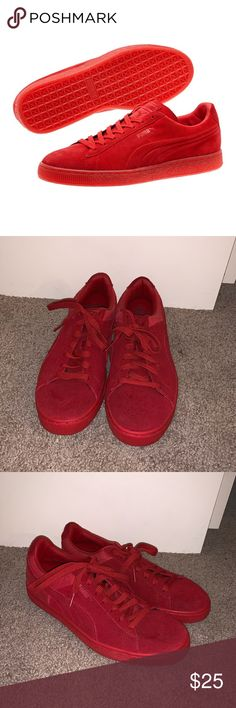 df2b3026dae Puma Classic Suede Sneakers - Red Great Condition Size Men s 8 Women s 9.5  Suede Upper Lace
