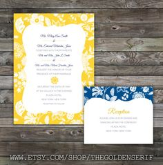 Yellow And Blue Wedding Invitation Set