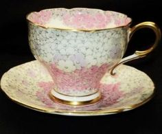 Paragon Corset Pink White Mauve Hydrangea Petals Tea Cup and Saucer by carolyn