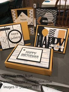 """For Project #1 they did 4 masculine cards with a """"No Adhesive Box"""" to hold a gift card, money, chocolates ect. in. Everyone received the Washi Tape as a FREE Goodie."""