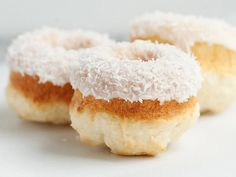 Coconut is all the rage right now, and you can combine that tropical taste with no-fuss doughnuts thanks to this simple recipe using Bisquick. Feel free to double the recipe to serve a crowd—these tasty little bites would look lovely on a wedding or baby shower brunch or dessert table.
