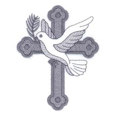 Dove and Cross Toile Embroidery Design | AnnTheGran