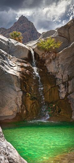 The Emerald Pool and Waterfall in Baja California, Mexico