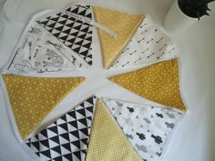 Garland children's pennants, black and mustard yellow, Indian themed room decoration for boy or girl, birth gift Boy Or Girl, Baby Boy, Birth Gift, Room Themes, Mustard Yellow, Garland, Kids Room, Room Decor, Indian
