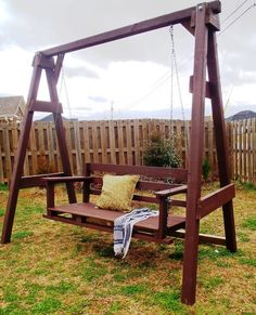 """How To Build an Outdoor A Frame Swing DIY Project Homesteading - The Homestead Survival .Com """"Please Share This Pin"""" Backyard Swing Sets, Diy Swing, Porch Swing, Garden Swings, Swing Seat, Large Backyard, A Frame Swing Set, Swing Set Plans, Frame Stand"""
