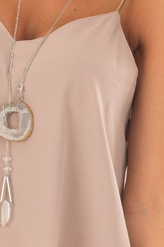 Taupe Flowy V Neck Tank Top front detail V Neck Tank Top, Gold Necklace, Pendant Necklace, Cute Boutiques, Flowy Tops, Taupe, Manga, Tank Tops, Detail