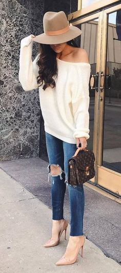 stylish look from a fashion blogger: knits + nude heels