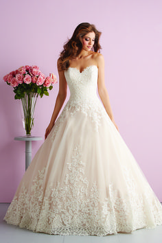 Strapless ball gown with floral lace appliqué + a demure sweetheart neckline - Style 2701 form @allurebridals - see more dresses from @weddingwire