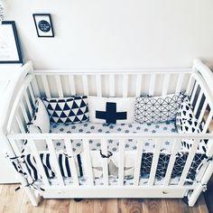 Crib Bumpers - Baby Bedding Bumper - Monochrome Bedding - Handmade Cradle Bumper - Black Geometric Bumper - Black Stars Bumper - Cot Bumper by KarambaKids on Etsy