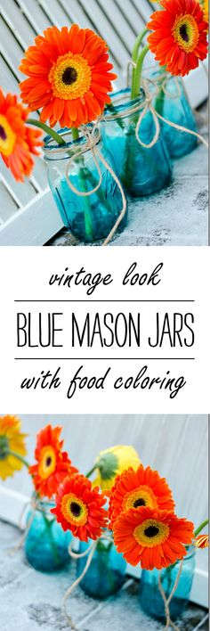 Blue Mason Jars ... Vintage Look Blue Tinted Mason Jars DIY with Food Coloring @ It All Started With Paint