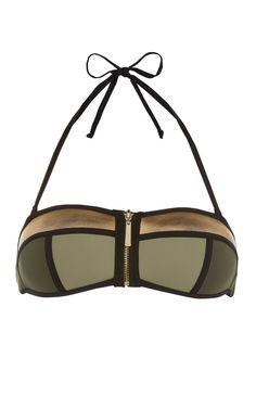 Gold-grünes Bandeau-Bikinitop