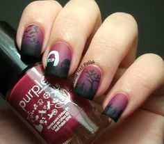 The Clockwise Nail Polish: Halloween Nail Art  Purple 08 Cherrie Pie