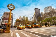 Photo: Taxis on fifth avenue, New York city.