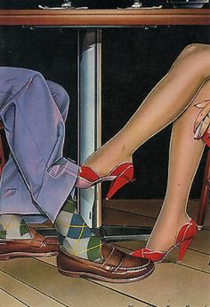 "Dennis Mukai (b., Japanese/American) airbrush acrylic Illustration, ""Footsie"", for 'PaperMoon Graphics Greeting Card', (CA. Retro Art, Vintage Art, Vintage Romance, Bd Pop Art, Art Romantique, Romance Art, Paper Moon, Airbrush Art, Pulp Art"