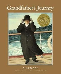 Grandfather leaves Japan and travels all over the US...But whenever he is in one country he becomes homesick for the other!  A touching family memoir with beautiful illustrations.  I remember my first librarian reading it to me, this story will stay with you too.