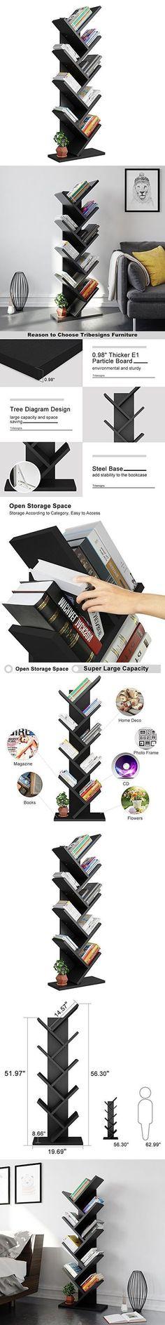 Tribesigns 9-Shelf Tree Shaped Bookcase Book Shelf Modern Stylish Kids Children Bookshelf Shelving Display Storage Rack for CD Book Home Office Decor (Black) #FunkyHomeDecor