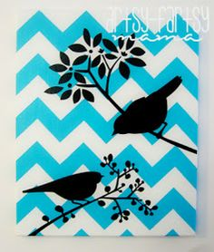 For dining room - canvas painted in chevrons or other pattern, Grey and maroon, then eat/deink/merry decals on top of that