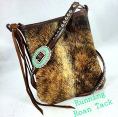 Light Brindle Cowhide Cross Body Handbag with Tied Fringe Accent and Turquoise Stone Navajo Buckle by Running Roan Tack